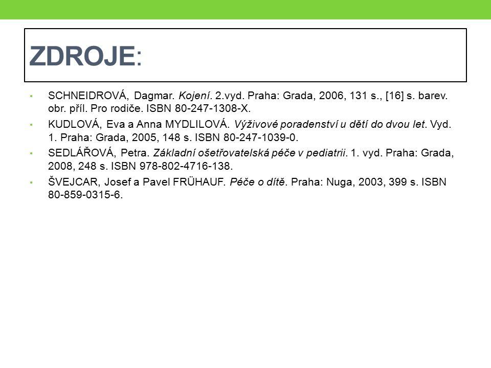 ZDROJE: SCHNEIDROVÁ, Dagmar. Kojení. 2.vyd. Praha: Grada, 2006, 131 s., [16] s. barev. obr. příl. Pro rodiče. ISBN 80-247-1308-X.